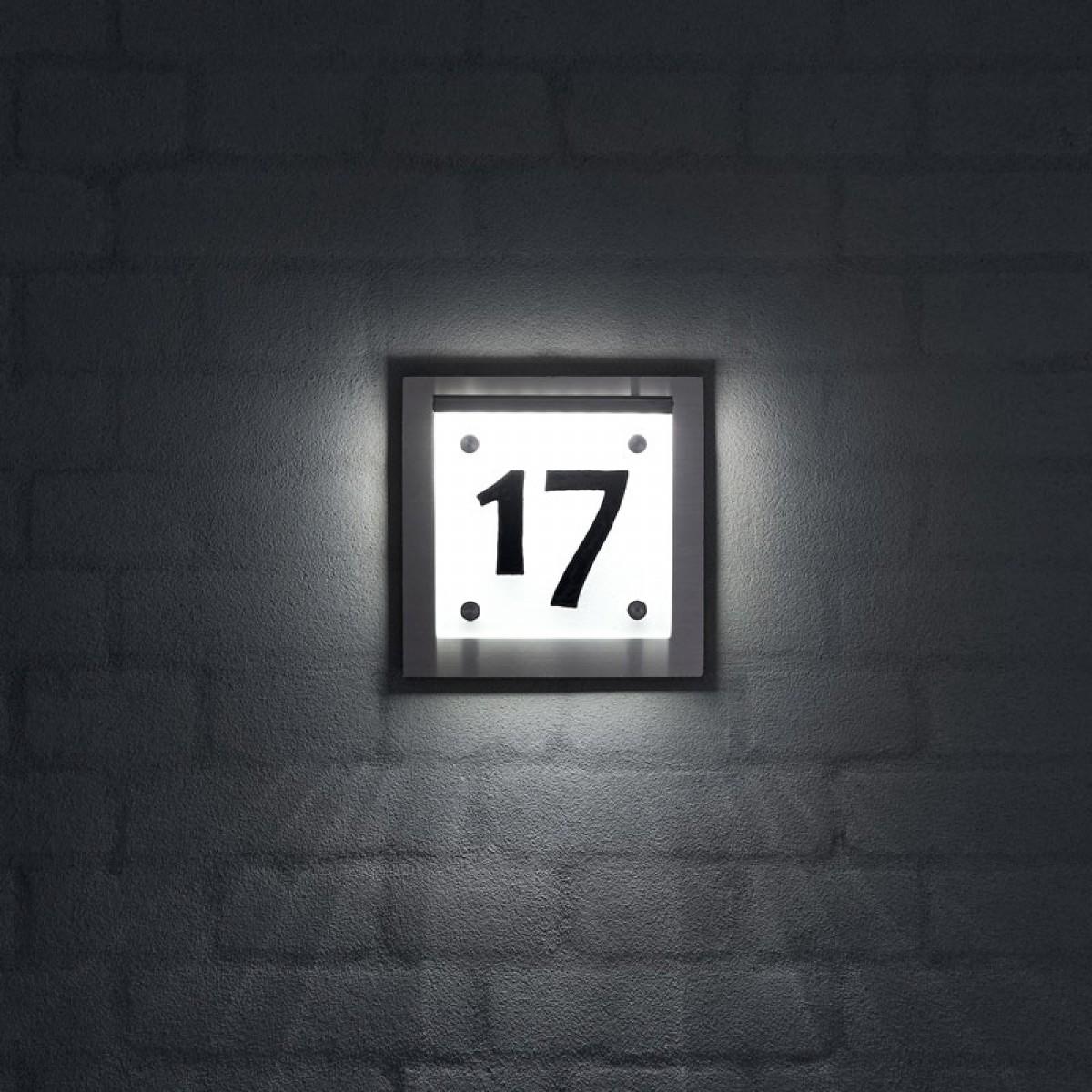 HUSNUMMER RUSTFRIT STÅL MATTERET GLAS LED LYS-01