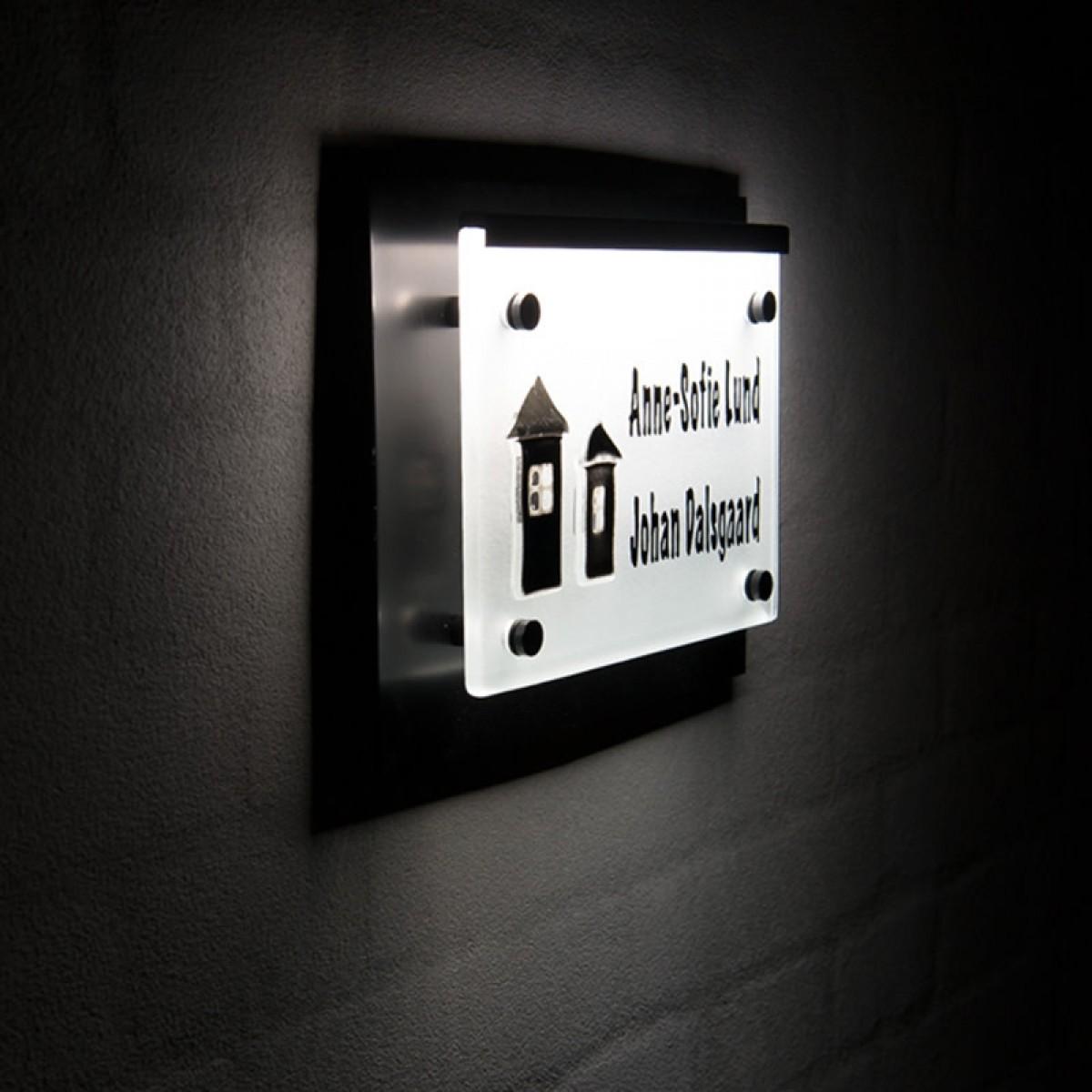 NAVNESKILT 2 HUSE SORT MATTERET GLAS LED LYS-01